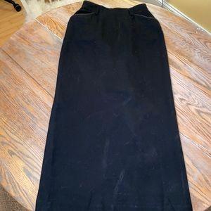 LAUREN  wool long black slitted back skirt/pockets